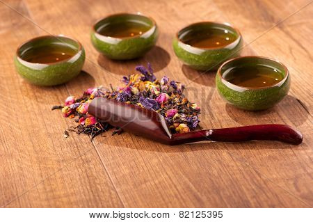 Tea ceremony composition on wooden table