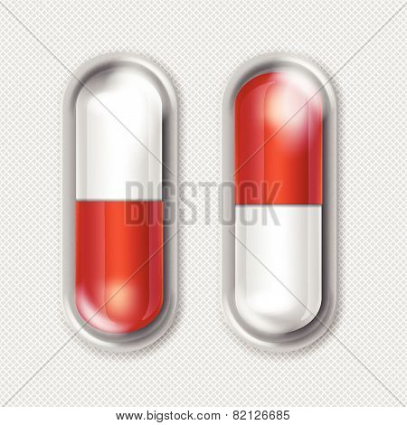 Vector Pack of Red and White Capsules