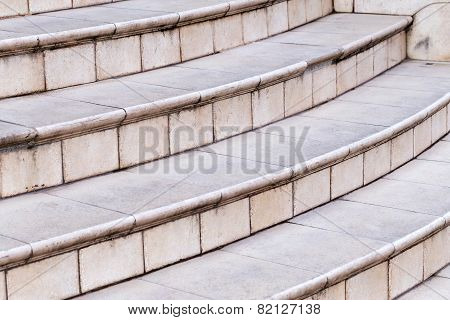 Fragment Of The Old Stairs Of Marble Tiles With Cracks And Scratches, Background