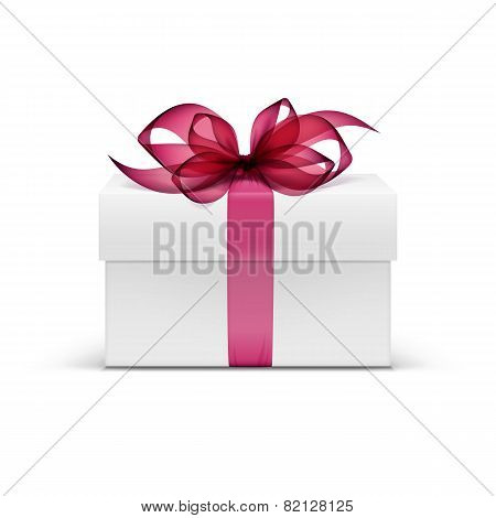White Square Gift Box with Red Ribbon and Bow