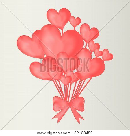 Valentine's Day Background With Heart Balloons With Ribbon.