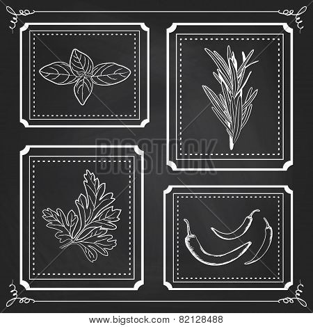 Handdrawn Illustration - Health And Nature Set. Collection Of Herbs On Black Chalkboard. Natural Sup