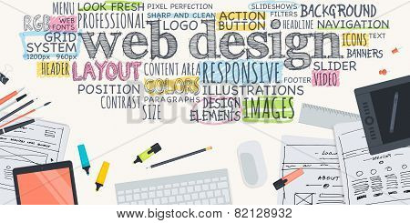 Flat design illustration concept for web design