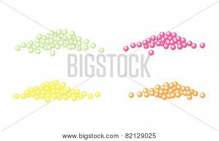Four Stack Of Caviar Salmon Roe On White Background