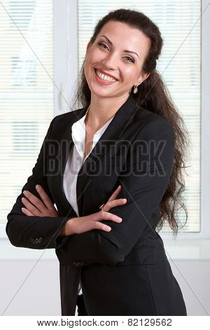 Woman Laughs With Folded Her Hands