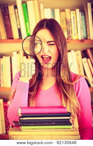Funny Girl Holding Magnifying Glass