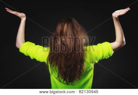 Teen Girl Showing Open Hands With Copy Space