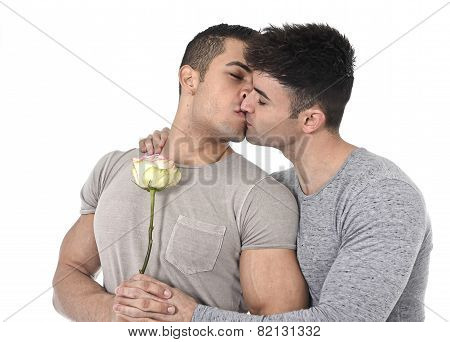Gay Couple Of Homosexual Young Strong Men In Love On Valentines With Rose