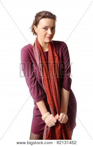 Woman In A Burgundy Dress Which In A Scarf