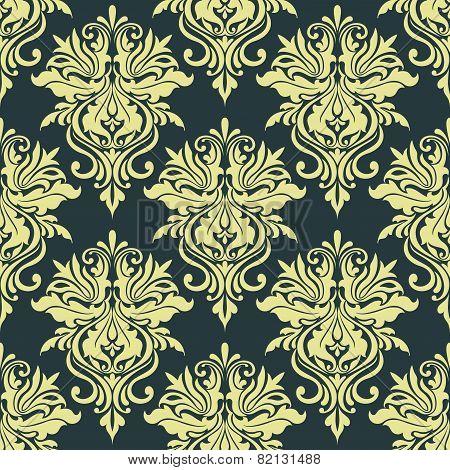 Yellow dainty floral damask seamless pattern