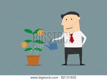 Businessman watering a money plant