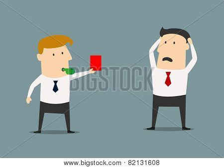 Manager showing a red card