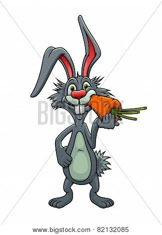 Funny cartoon rabbit eating a carrot