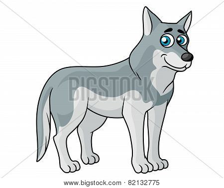 Cartoon grey wolf