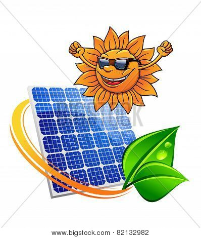 Trendy sun with a solar photovoltaic panel