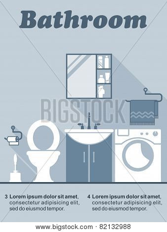 Bathroom flat interior decor infographic