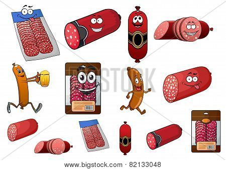 Cartoon wurst, sausage and salami characters