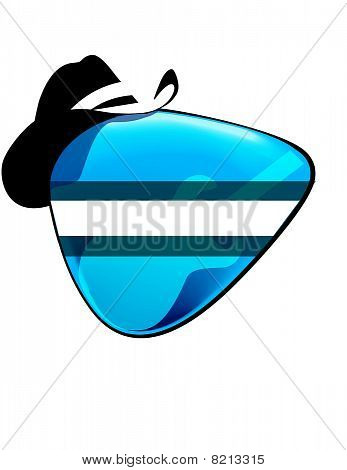 guitar pick with cowboy hat