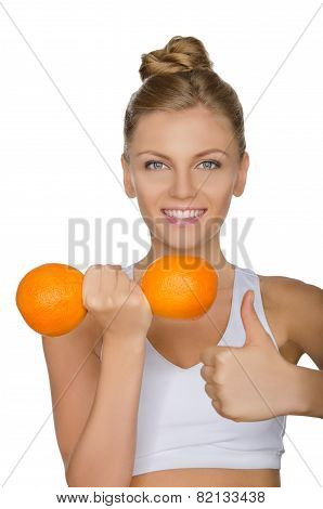 Happy Woman With Dumbbells Fruits