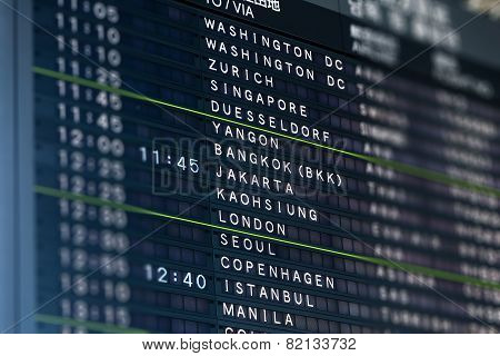 International Airport Flight Information Board