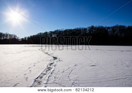 Path Cleared In Snow Covered Ice