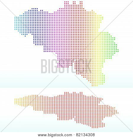 Map Of Kingdom Of Belgium With With Dot Pattern