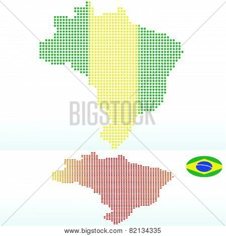 Map Of Federative Republic Of Brazil With With Dot Pattern