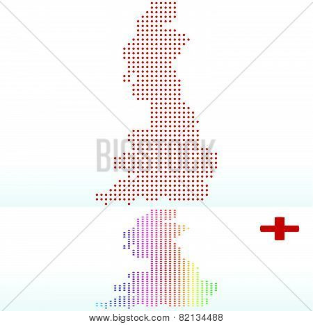 Map Of England With With Dot Pattern
