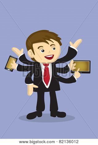 Busy Businessman Multitasking With Multiple Arms Vector Cartoon