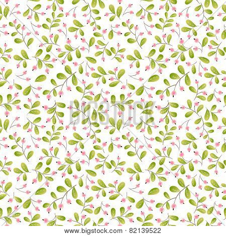 pink berries seamless pattern