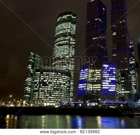 Moscow, Modern Buildings At Night