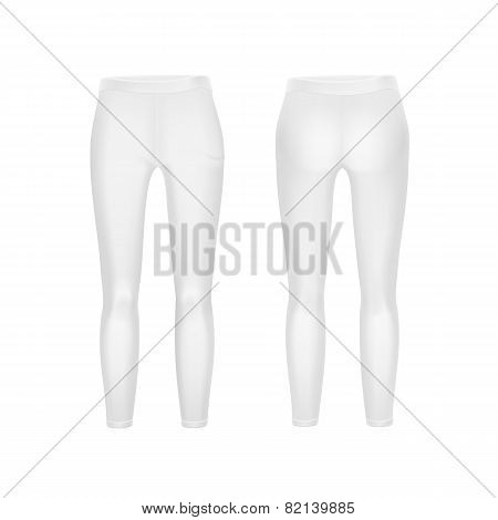 Vector White Leggings Pants Isolated on Background
