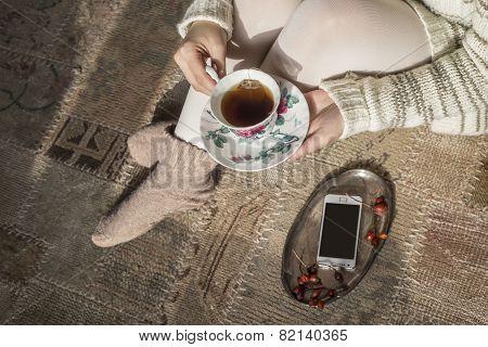 Tea Cup In Woman Hands