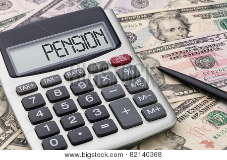 Calculator with text on the display - Pension
