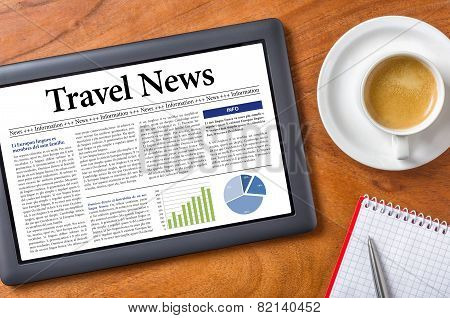 A tablet on a desk - Travel News