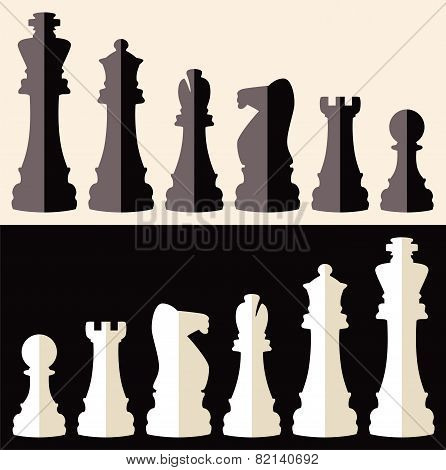 Vector Set Of Flat Icons Of Chess Pieces
