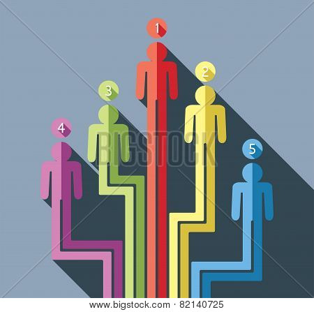 Vector Abstract Concept Of Business Leadership With Flat Symbols Of People