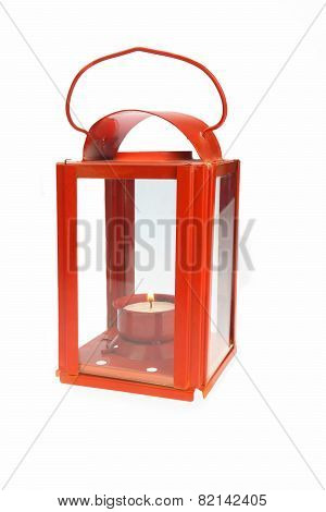 Red Lantern With Glowing Candlestick