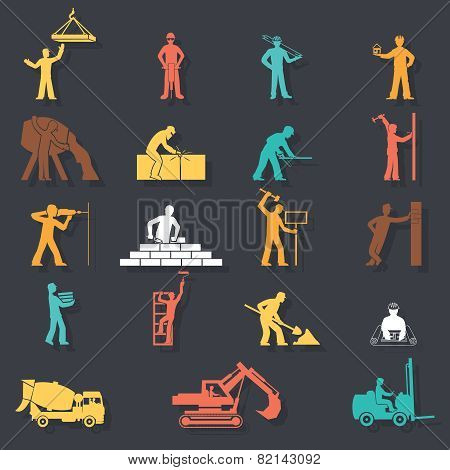 Builders construction workers with tools and equipment machinery silhouettes icons set on Stylish Ba