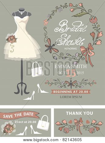 Bridal shower template set .Bridal dress,floral decor