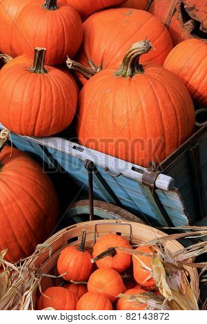 Wood baskets filled with pumpkins
