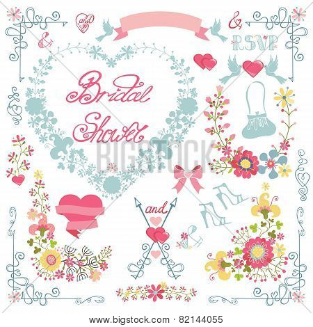Bridal shower invitation. Floral heart wreath,headline,decor set