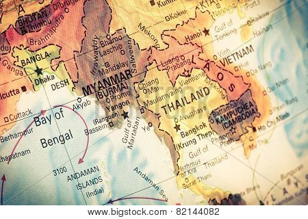 Map Myanmar And Burma,