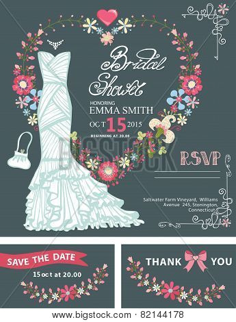 Bridal shower invitation template.Bridal dress,floral wreath