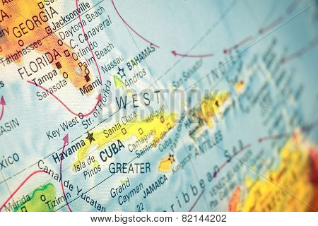 Map Of Cuba And Florida. Macro Image
