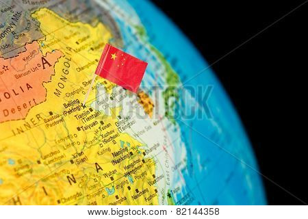 Map With Flag Of China