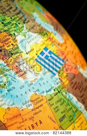 Map With Flag Of Greece
