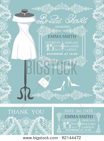 Bridal shower invitation set.Winter lace,wedding dress