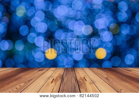Floor And Abstract Circular Bokeh Nigth Background