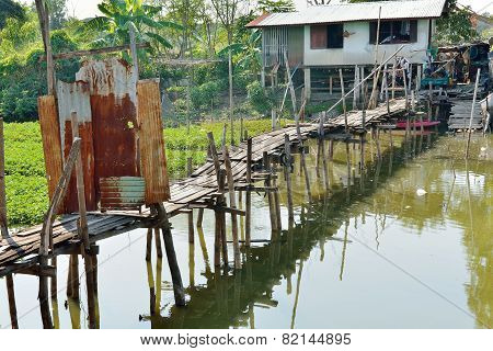 Old wooden bridge . Easily create By local people